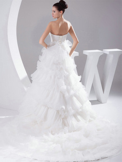 Princess Sweetheart Court Train Tulle Ruffle Wedding Dresses