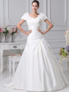 Over Hip V-neck Brush Train Satin Flower Short Sleeve Wedding Dresses