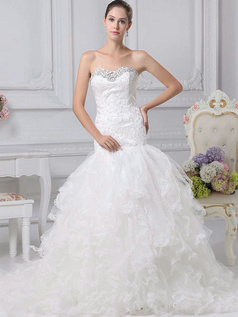 Mermaid Sweetheart Brush Train Tulle Crystal Ruffle Wedding Dresses