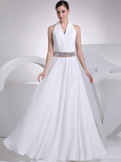 A-line V-neck Halter Floor-length Chiffon Crystal Wedding Dresses