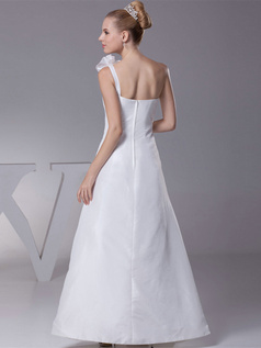 A-line One Shoulder Floor-length Satin Side-draped Wedding Dresses With Flower