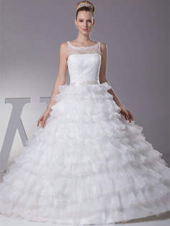 Princess Bateau Sweep Organza Crystal Tiered Lace Wedding Dresses