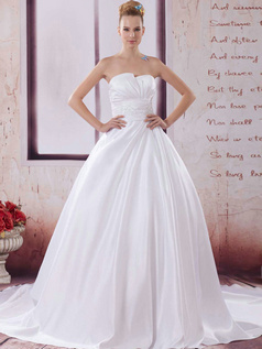 A-line Asymmetrical Collar Sweep Satin Beading Sequin Wedding Dresses
