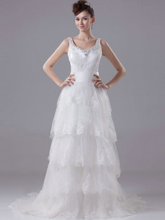 A-line Scoop Straps Brush Train Tulle Crystal Beading Wedding Dresses