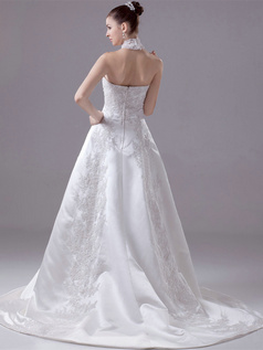 A-line High Neck Brush Train Satin Beading Sequin Wedding Dresses