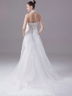 Mermaid Halter Brush Train Organza Beading Sequin Wedding Dresses