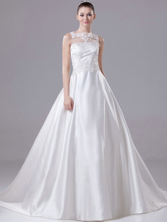 Ball Gown Scalloped-edge Sweep Satin Bowknot Wedding Dresses With Semi Transparent