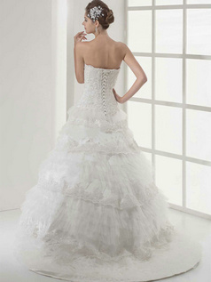 Ball Gown Scalloped-edge Sweep Tulle Beading Tiered Wedding Dresses