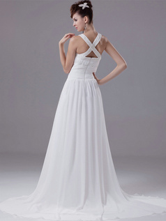 A-line Bateau Sweep Chiffon Beading Sequin Draped Wedding Dresses