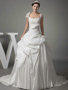 Ball Gown Square Sweep Taffeta Short Sleeve Lace Wedding Dresses With Pick-Ups