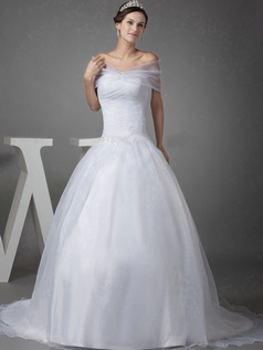 Ball Gown Off-the-shoulder Brush Train Organza Short Sleeve Wedding Dresses With Beading