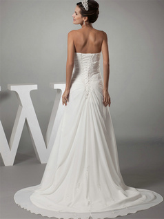 Over Hip Sweetheart Brush Train Chiffon Beading Wedding Dresses With Side-draped