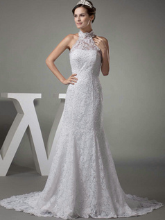 Mermaid High Neck Brush Train Beading Sequin Lace Wedding Dresses