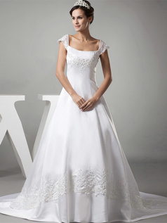 A-line Square Brush Train Satin Beading Cap Sleeves Wedding Dresses