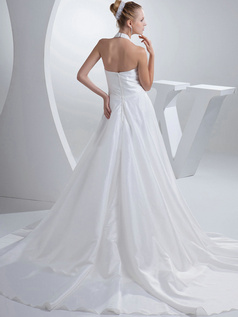 A-line V-neck Halter Brush Train Satin Beading Sequin Wedding Dresses
