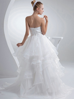 Princess Tube Top Brush Train Organza Bowknot Ruffle Wedding Dresses