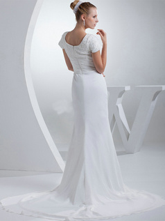 Mermaid Scoop Brush Train Chiffon Short Sleeve Beading Wedding Dresses