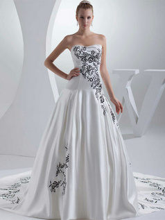 Ball Gown Sweetheart Court Train Satin Embroidery Wedding Dresses