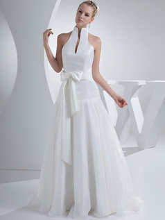 Over Hip High Neck Floor-length Organza Sashes Wedding Dresses