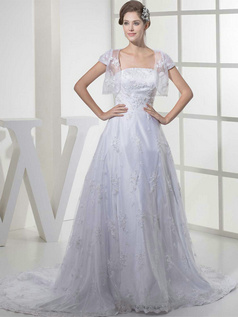 A-line Tube Top Brush Train Sequin Beading Lace Wedding Dresses With Jacket