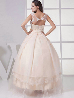 Ball Gown Scoop Floor-length Organza Flower Beading Wedding Dresses With Semi Transparent