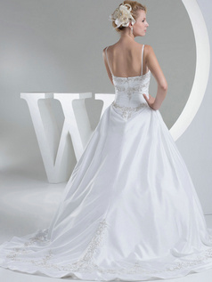 A-line Spaghetti Straps Brush Train Satin Beading Wedding Dresses With Embroidery
