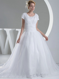 Ball Gown Scoop Sweep Organza Short Sleeve Beading Wedding Dresses