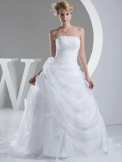 Ball Gown Tube Top Court Train Organza Sequin Beading Wedding Dresses
