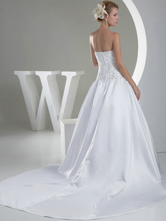Ball Gown Sweetheart Court Train Satin Crystal Sequin Wedding Dresses