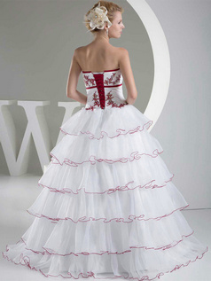 Princess Tube Top Floor-length Organza Beading Tiered Wedding Dresses