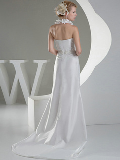 A-line V-neck Halter Brush Train Satin Crystal Beading Wedding Dresses