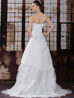 A-line Scalloped-edge Sweep Organza Beading Flower Wedding Dresses