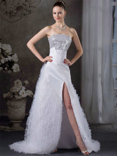 A-line Tube Top Sweep Tulle Sequin Split Front Wedding Dresses