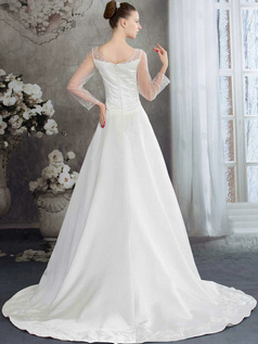 A-line Bateau Sweep Satin 3/4 Length Sleeve Sequin Wedding Dresses With Semi Transparent