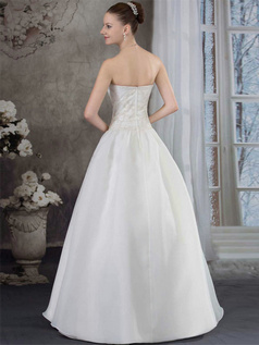 A-line Sweetheart Floor-length Organza Sequin Wedding Dresses