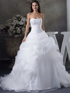 Ball Gown Sweetheart Sweep Organza Beading Pick-Ups Wedding Dresses