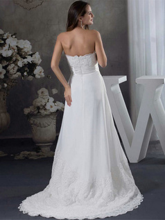 A-line Scalloped-edge Sweep Chiffon Beading Tiered Wedding Dresses