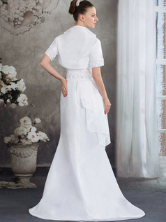 A-line Tube Top Sweep Satin Short Sleeve Flower Wedding Dresses With Jacket