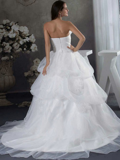 Princess Strapless Sweep Organza Beading Sequin Flower Wedding Dresses