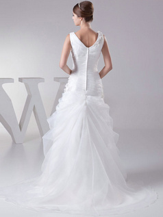 Over Hip V-neck Straps Sweep Organza Flower Tiered Wedding Dresses