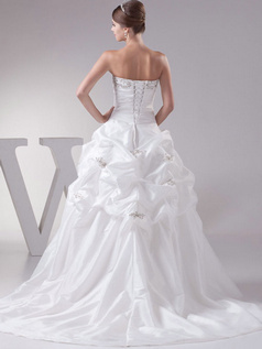 A-line Tube Top Sweep Taffeta Embroidery Pick-Ups Wedding Dresses