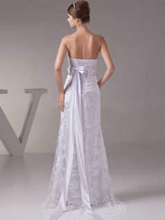 A-line Sweetheart Brush Train Sequin Sashes Lace Wedding Dresses