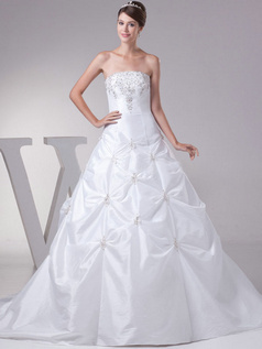 A-line Tube Top Sweep Satin Sequin Beading Embroidery Wedding Dresses