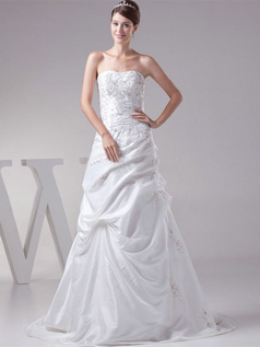 Over Hip Sweetheart Sweep Taffeta Embroidery Beading Wedding Dresses