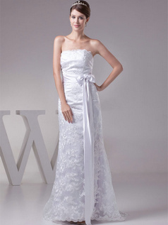 A-line Scalloped-edge Floor-length Bowknot Lace Wedding Dresses