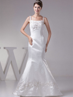 Mermaid Straps Sweep Satin Embroidery Sequin Beading Wedding Dresses
