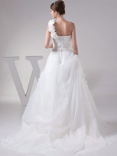 A-line One Shoulder Brush Train Organza Flower Tiered Wedding Dresses