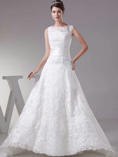 Over Hip Scalloped-edge Brush Train Sequin Lace Wedding Dresses