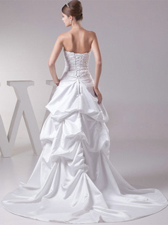 A-line Scalloped-edge Sweep Satin Beading Pick-Ups Wedding Dresses