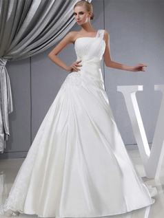 A-line One Shoulder Court Train Satin Beading Lace Wedding Dresses